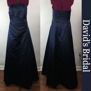 David's Bridal Navy Blue Bridesmaid Dress Size 10